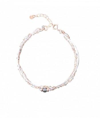"""Bracelet """"Pandora"""" pierres fines Labradorite et chaine doré rose"""
