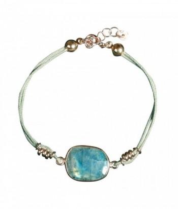 "Bracelet ""Kim"" pierre fine, cordon et perles dor"