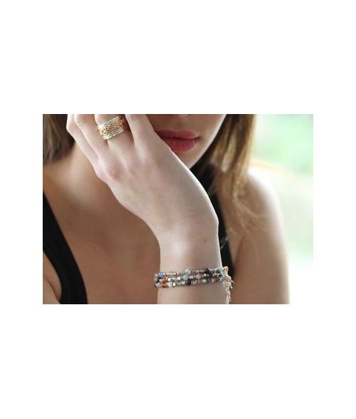 "Bracelet ""Morgana"" pierres fines et perles argent"