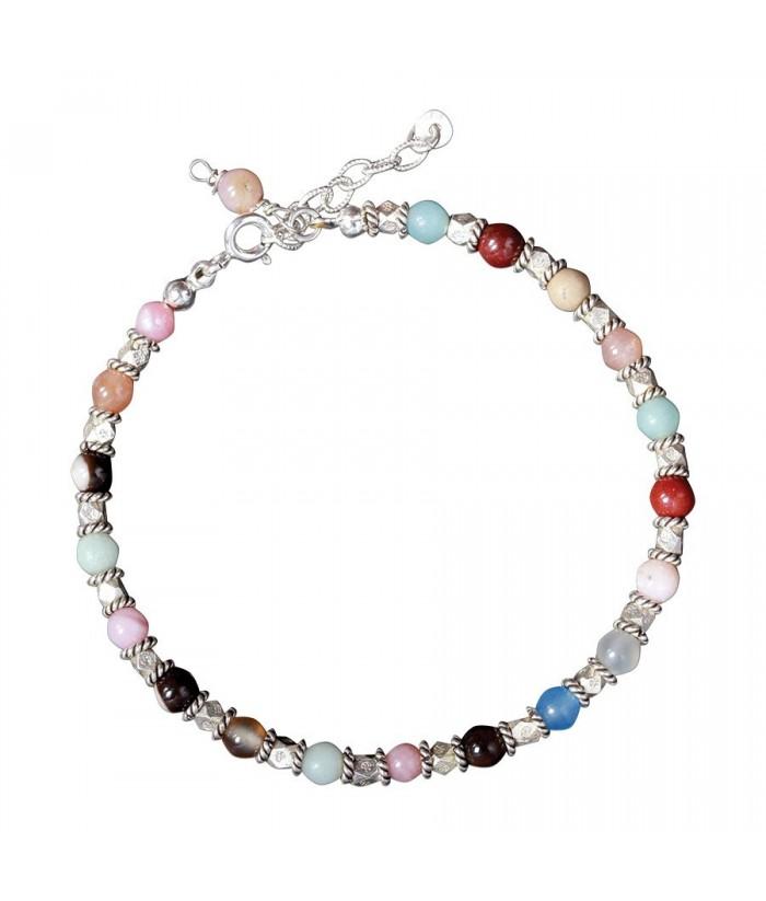 """Bracelet """"Morgana III"""" pierres fines et perles argent"""