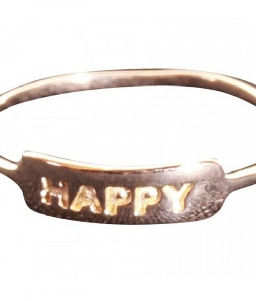 """Bague """"Happy"""" en plaqu"""