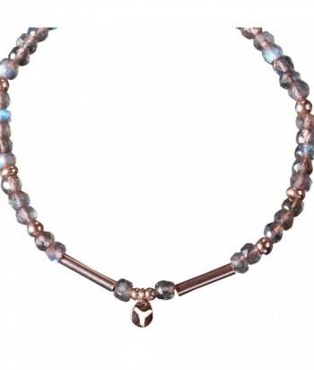 """Bracelet """"Oma"""" pierres naturelles et perles rondes et tubes en dor"""