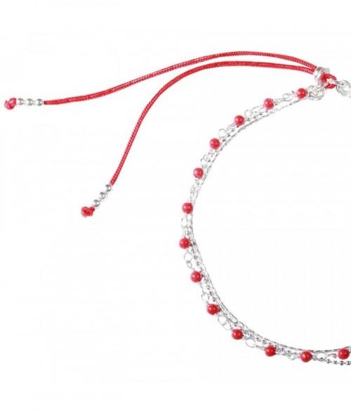 """Bracelet """"Nolwenn"""" pierres fines Corail Rouge et chaine argent"""