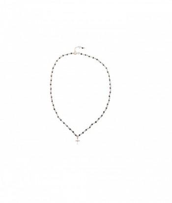 """Collier """"Crede"""" pendentif croix en doré rose sur argent et pierres fines"""