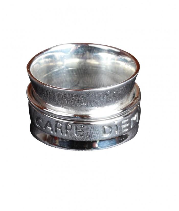 """Bague """"Alienor"""" message """"Carpe Diem"""" argent"""