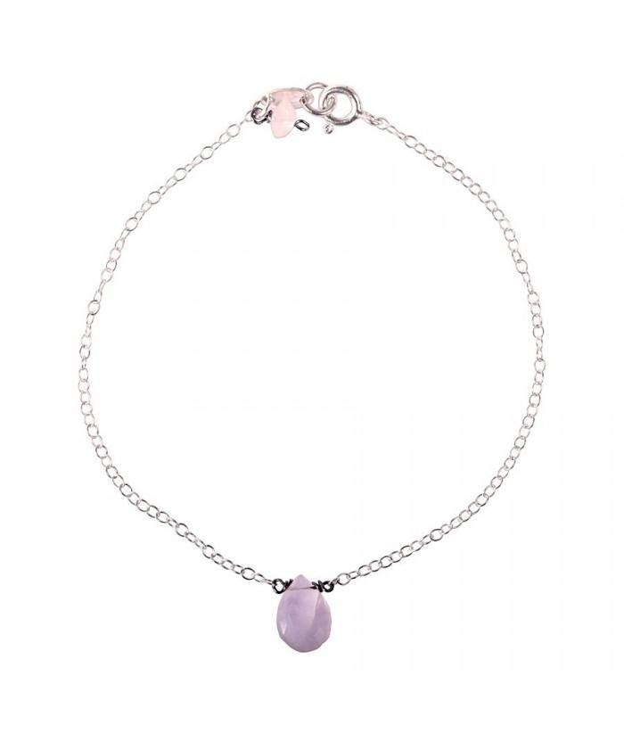 """Bracelet """"Pimprenelle"""" pierre naturelle sur chaine argent"""