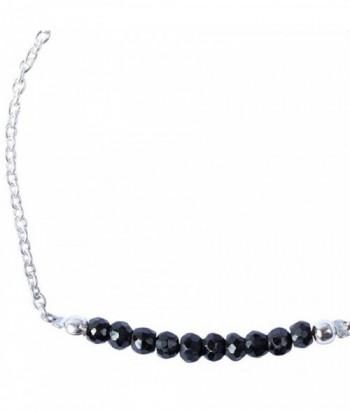 """Bracelet """"Palma"""" pierre Spinelle Noire sur argent"""