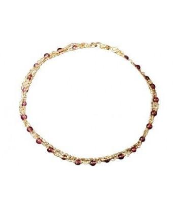 Bracelet pierres fines Grenat et chaine dorée sur argent