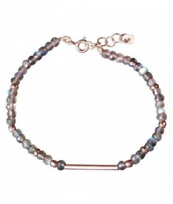 """Bracelet """"Omisha"""" pierres naturelles et perles rondes et tubes en dorées rose sur argent"""