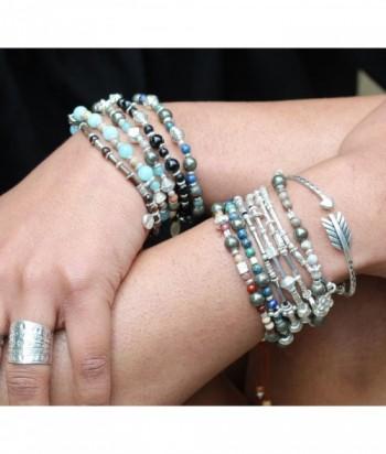 """Bracelet """"Ekta I"""" mélange de perle ethnique en argent sur élastique"""