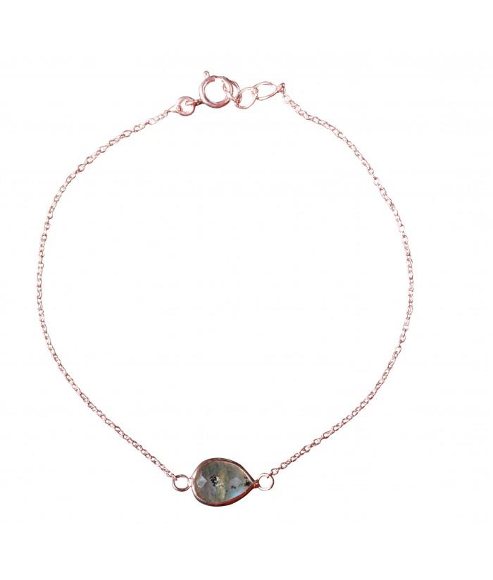 bracelet argent pierre rose